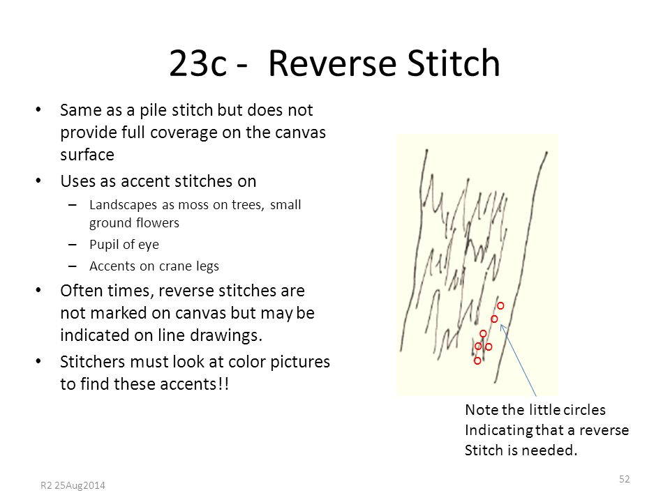23c - Reverse Stitch Same as a pile stitch but does not provide full coverage on the canvas surface Uses as accent stitches on – Landscapes as moss on