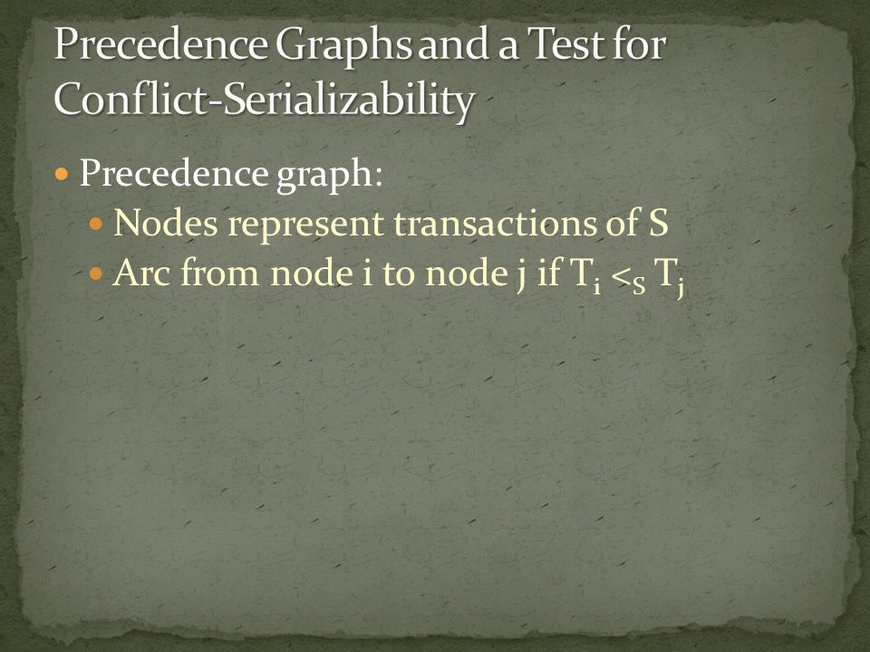 Precedence graph: Nodes represent transactions of S Arc from node i to node j if T i < S T j