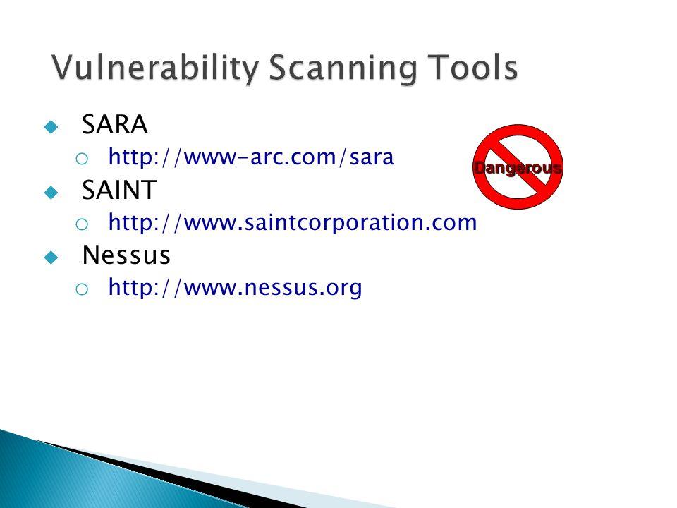  SARA o http://www-arc.com/sara  SAINT o http://www.saintcorporation.com  Nessus o http://www.nessus.org Dangerous