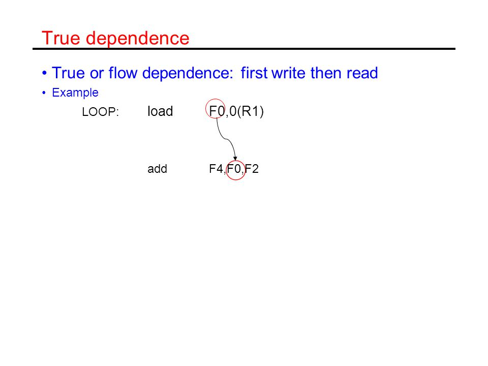 True dependence True or flow dependence: first write then read Example LOOP: loadF0,0(R1) addF4,F0,F2