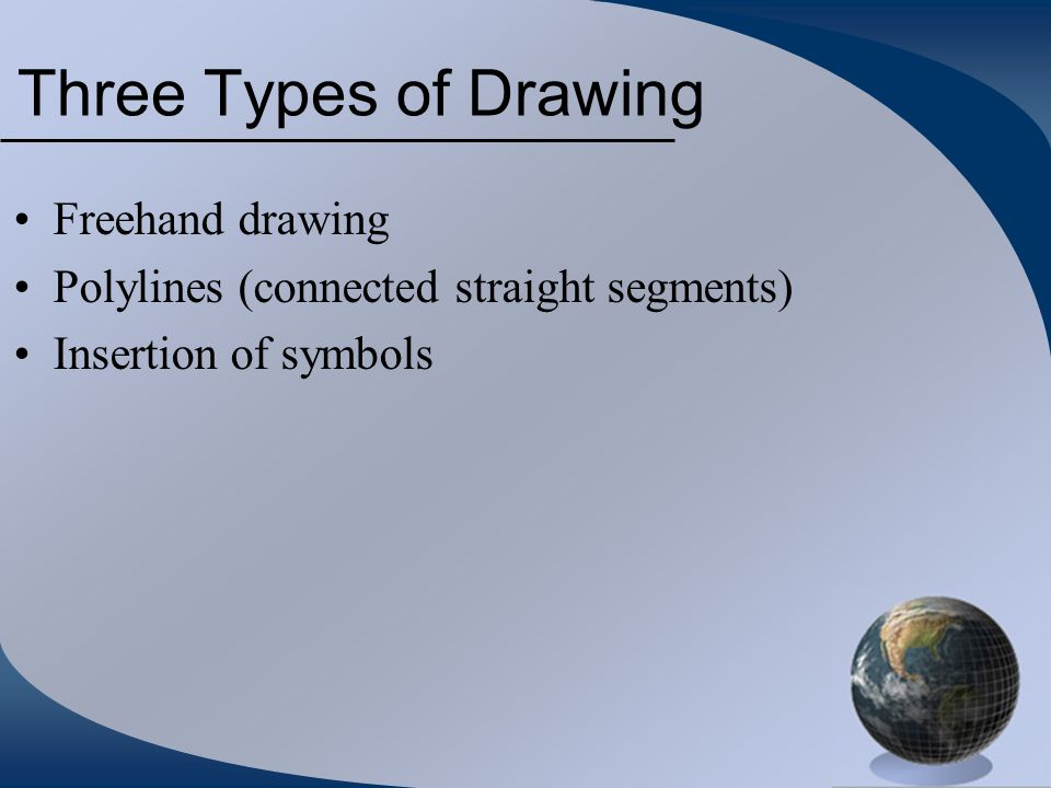 Three Types of Drawing Freehand drawing Polylines (connected straight segments) Insertion of symbols