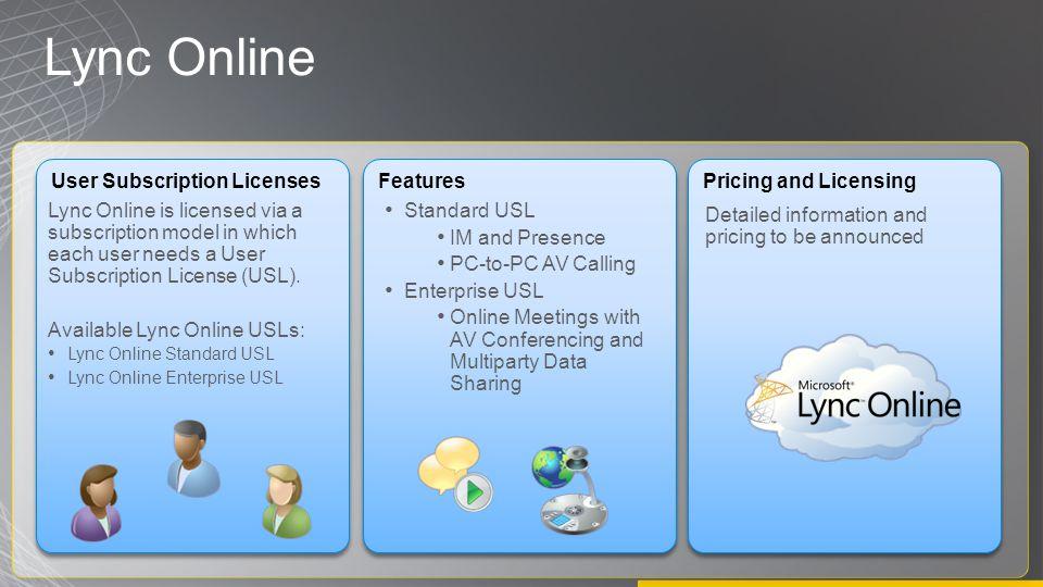Lync Online User Subscription Licenses Lync Online is licensed via a subscription model in which each user needs a User Subscription License (USL).