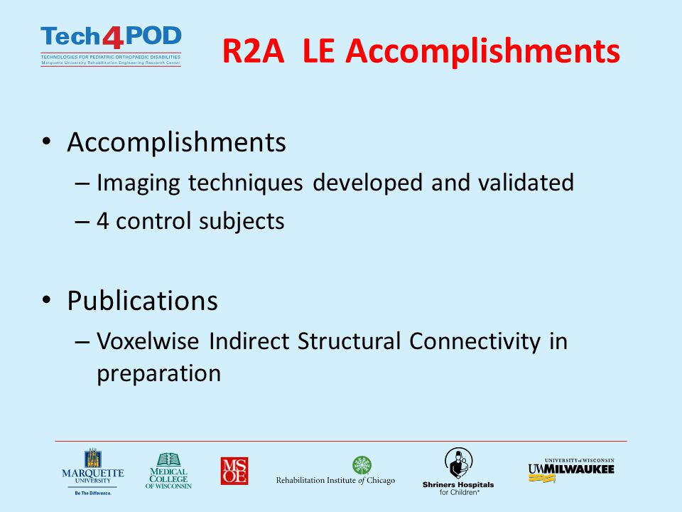 R2A LE Accomplishments Accomplishments – Imaging techniques developed and validated – 4 control subjects Publications – Voxelwise Indirect Structural