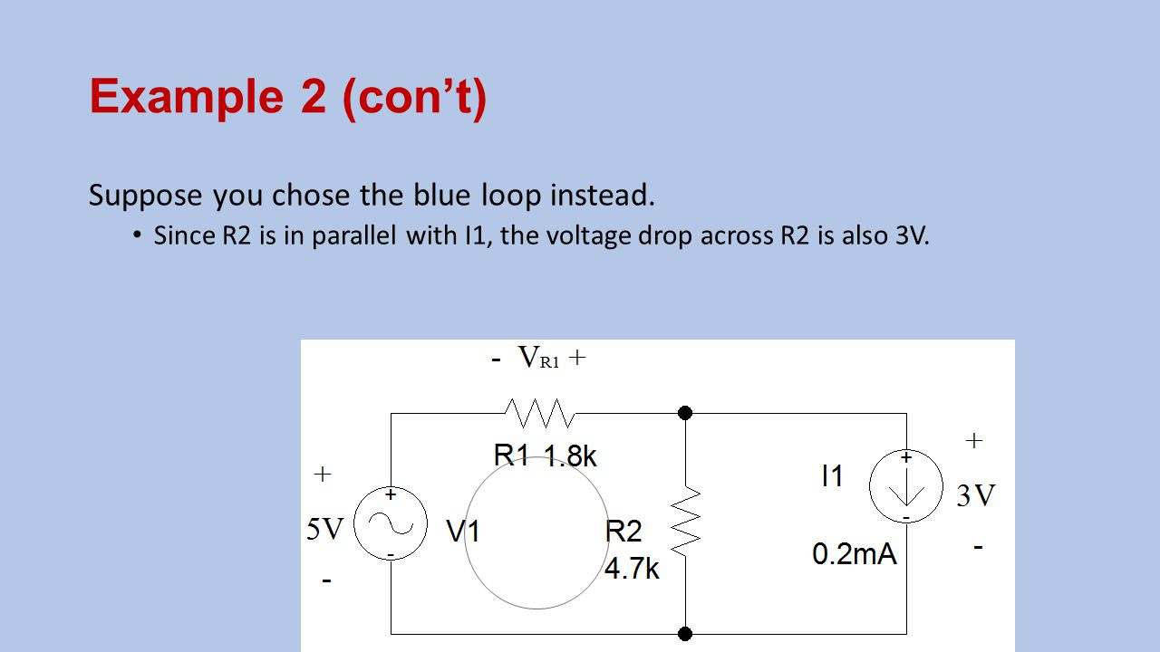 Example 2 (con't) Suppose you chose the blue loop instead. Since R2 is in parallel with I1, the voltage drop across R2 is also 3V.