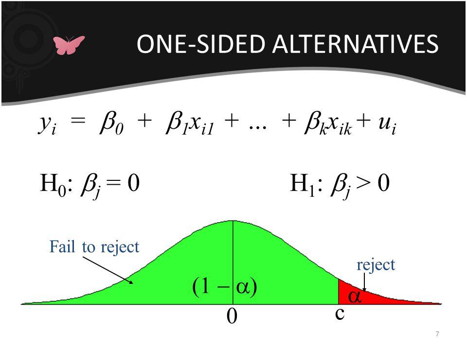 TWO-SIDED ALTERNATIVES 8 y i =  0 +  1 X i1 + … +  k X ik + u i H 0 :  j = 0 H 1 :  j > 0 c 0   -c  reject fail to reject