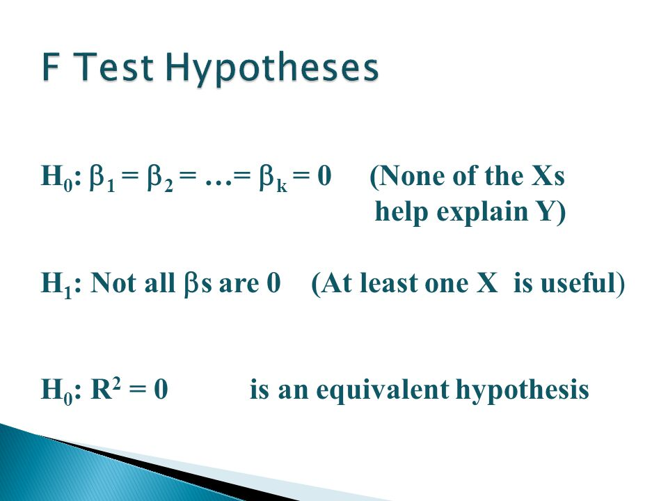 Multiple Regression 16 H 0 :  1 =  2 = …=  k = 0 (None of the Xs help explain Y) H 1 : Not all  s are 0 (At least one X is useful) H 0 : R 2 = 0 is an equivalent hypothesis