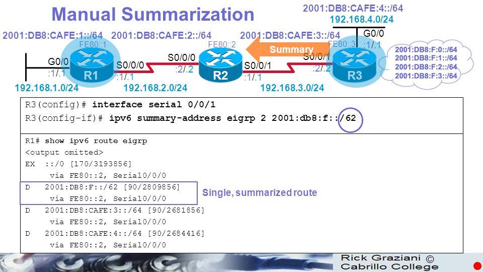 © Manual Summarization R3(config)# interface serial 0/0/1 R3(config-if)# ipv6 summary-address eigrp 2 2001:db8:f::/62 R1# show ipv6 route eigrp EX ::/0 [170/3193856] via FE80::2, Serial0/0/0 D 2001:DB8:F::/62 [90/2809856] via FE80::2, Serial0/0/0 D 2001:DB8:CAFE:3::/64 [90/2681856] via FE80::2, Serial0/0/0 D 2001:DB8:CAFE:4::/64 [90/2684416] via FE80::2, Serial0/0/0 Single, summarized route R1 R2R3 G0/0 :1/.1 S0/0/0 :1/.1 S0/0/1 :1/.1 S0/0/0 :2/.2 S0/0/1 :2/.2 2001:DB8:CAFE:1::/642001:DB8:CAFE:2::/642001:DB8:CAFE:3::/64 2001:DB8:CAFE:4::/64 192.168.1.0/24192.168.2.0/24 192.168.3.0/24 192.168.4.0/24 FE80::1FE80::2 FE80::3 G0/0 :1/.1 Summary