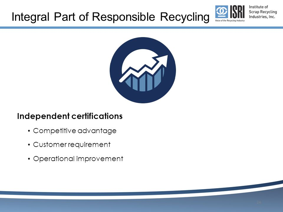 Integral Part of Responsible Recycling Independent certifications Competitive advantage Customer requirement Operational improvement 24