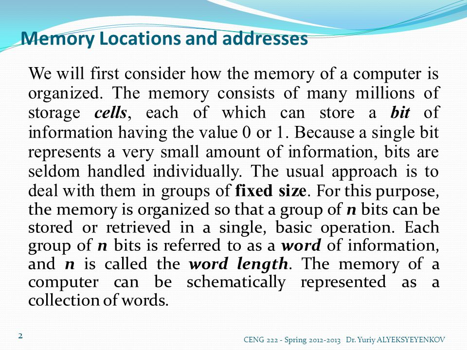 Memory Operations (Wrıte) CENG 222 - Spring 2012-2013 Dr.