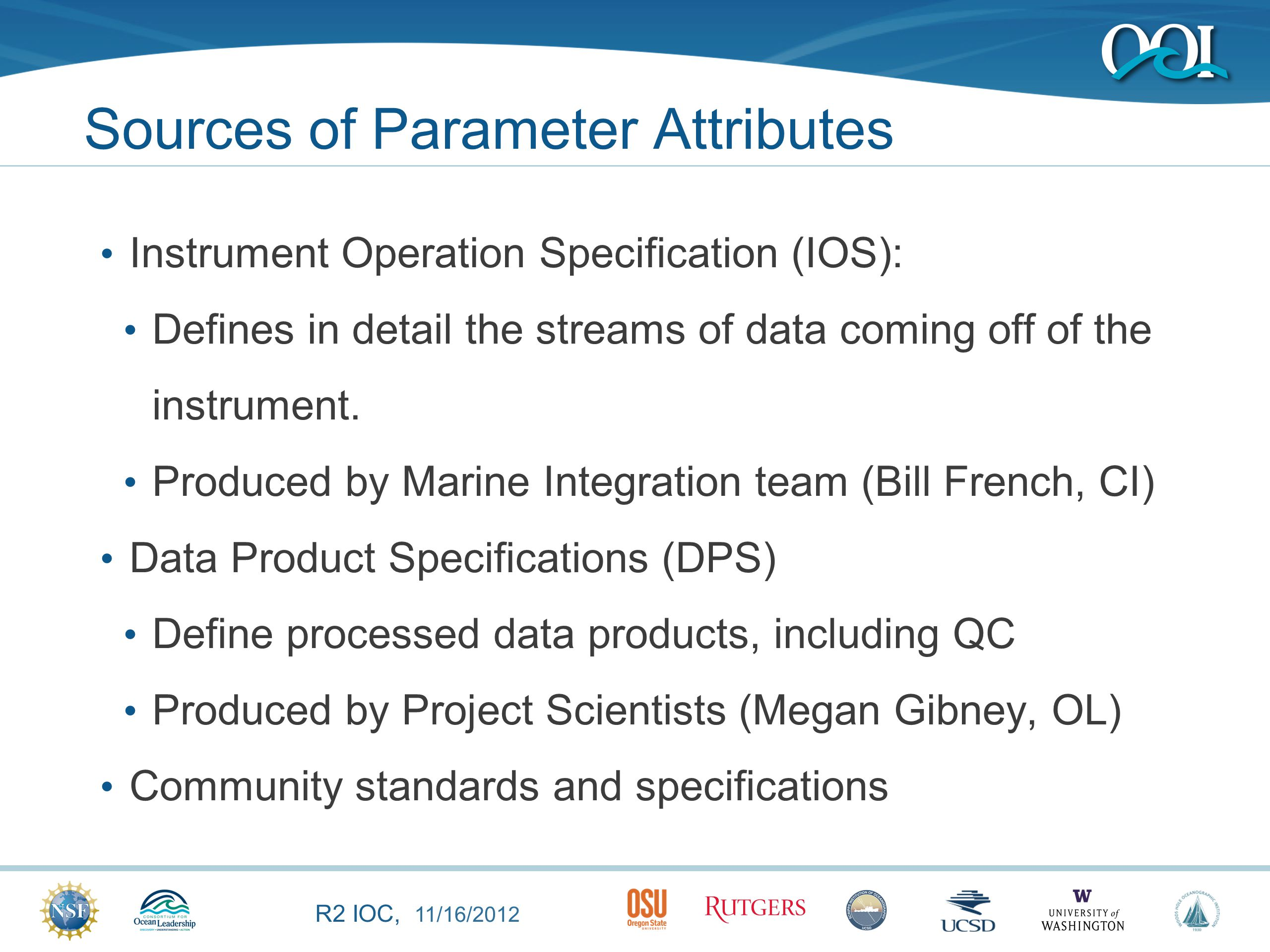 R2 IOC, 11/16/2012 Parameter Management Process Parameter Dictionary holds the master, controlled set of parameters.