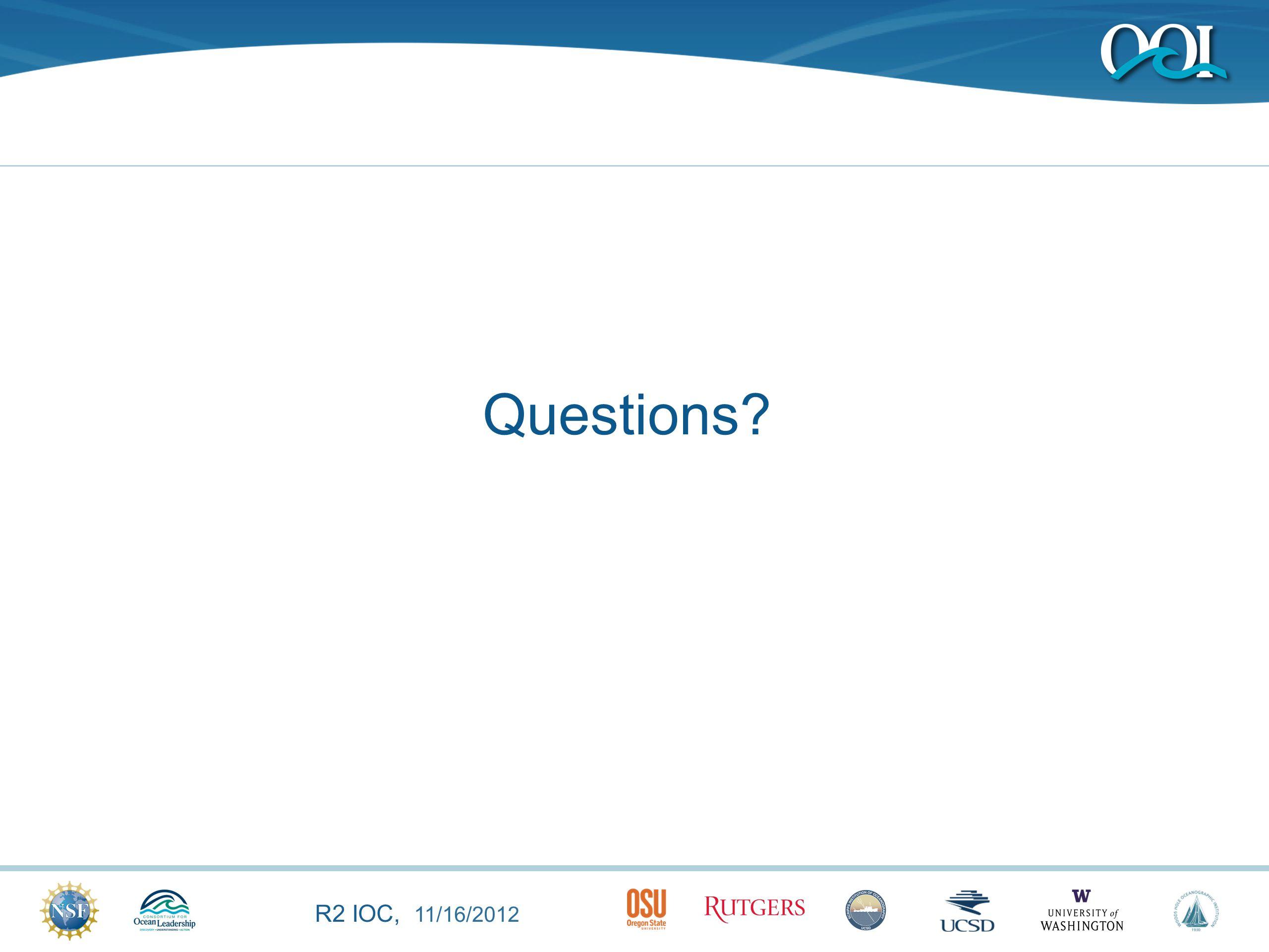 R2 IOC, 11/16/2012 Questions?
