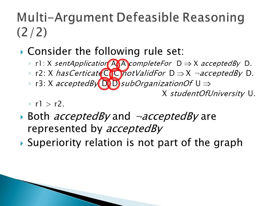  Consider the following rule set: ◦ r1: X sentApplication A, A completeFor D  X acceptedBy D.