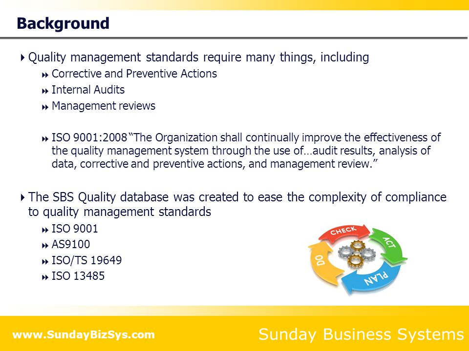 Sunday Business Systems www.SundayBizSys.com Features  Nonconformance Tracking  Corrective Actions (CA)  Safety Corrective Actions  Supplier Corrective Actions  Internal Audit Corrective Actions  Preventive Actions (PA)  Internal Audit Management  Record and track audit findings  Manage Audit Schedules  Document management review meetings  Manage continuous improvement projects  Customer Satisfaction Surveys CAPA = Corrective and Preventive Actions