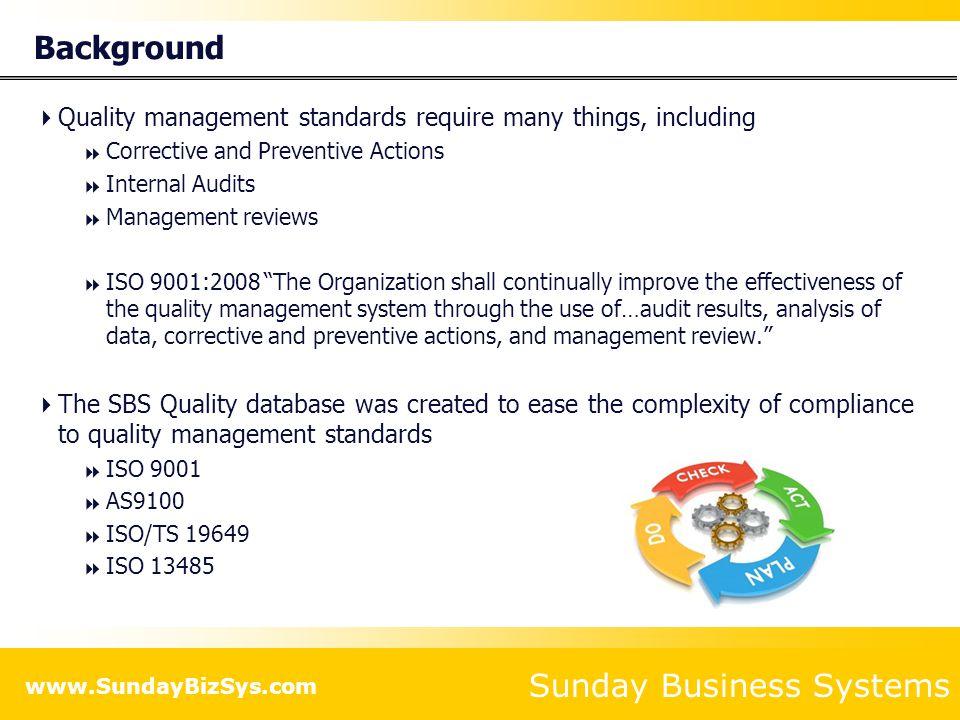 Sunday Business Systems www.SundayBizSys.com QMS Details