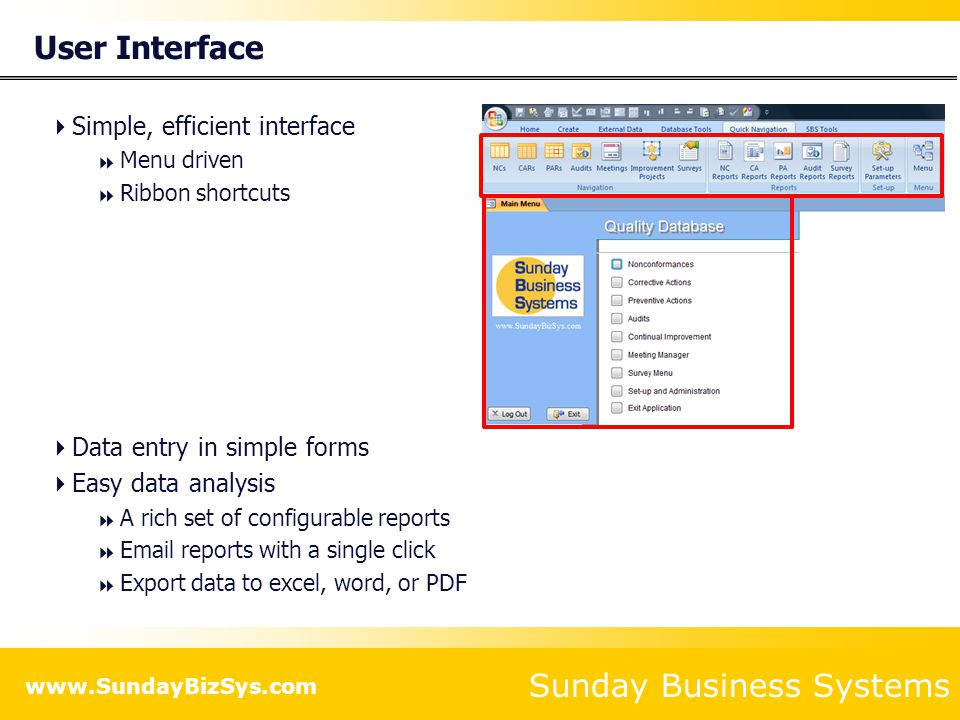 Sunday Business Systems www.SundayBizSys.com Analysis Tools  Wide variety of detailed reports  Charts, graphs, Pareto analysis  Quality Performance metrics
