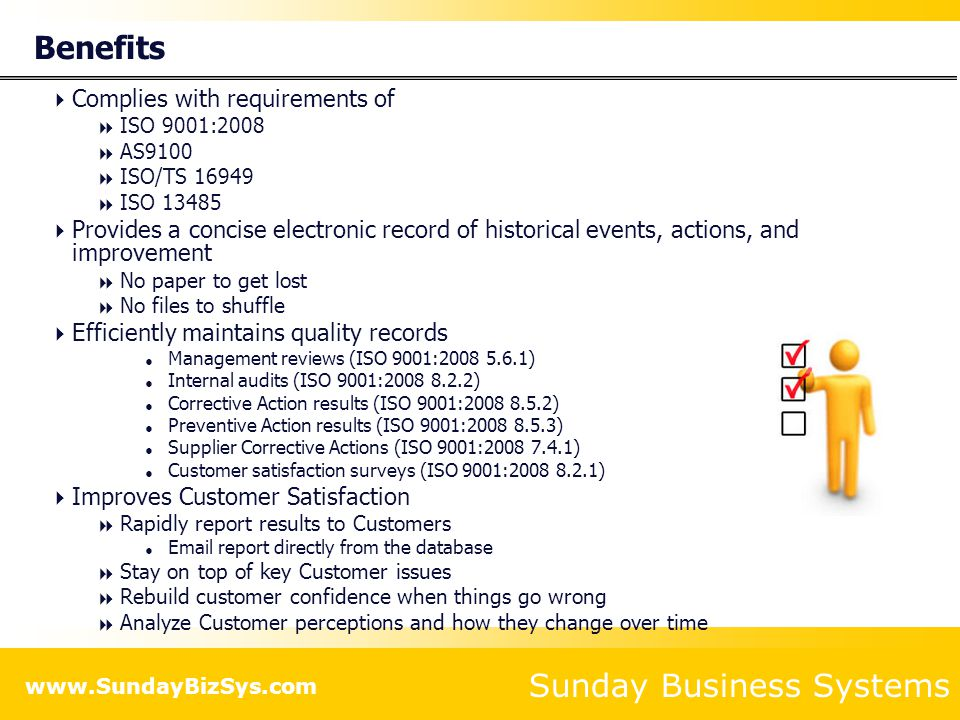 Sunday Business Systems Corrective Action Requests Background: The 8D problem solving process Create a CAR Review reports Measure effectiveness