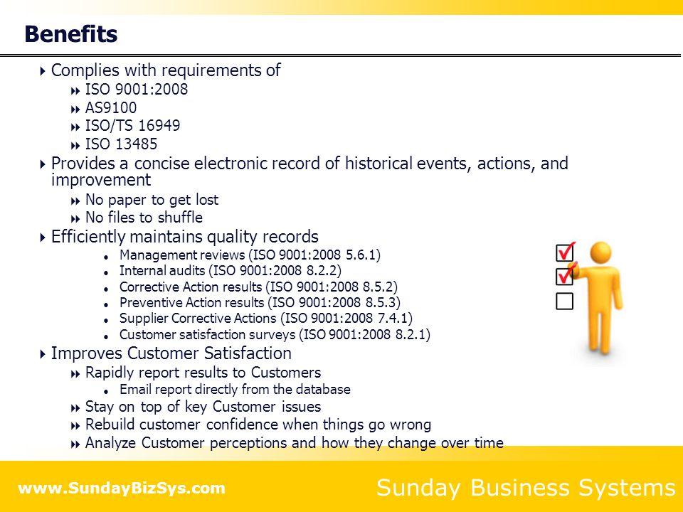 Sunday Business Systems www.SundayBizSys.com Tab #4: Corrective Actions and Validation Establish corrective actions with specific owners Establish Validation criteria and document closure