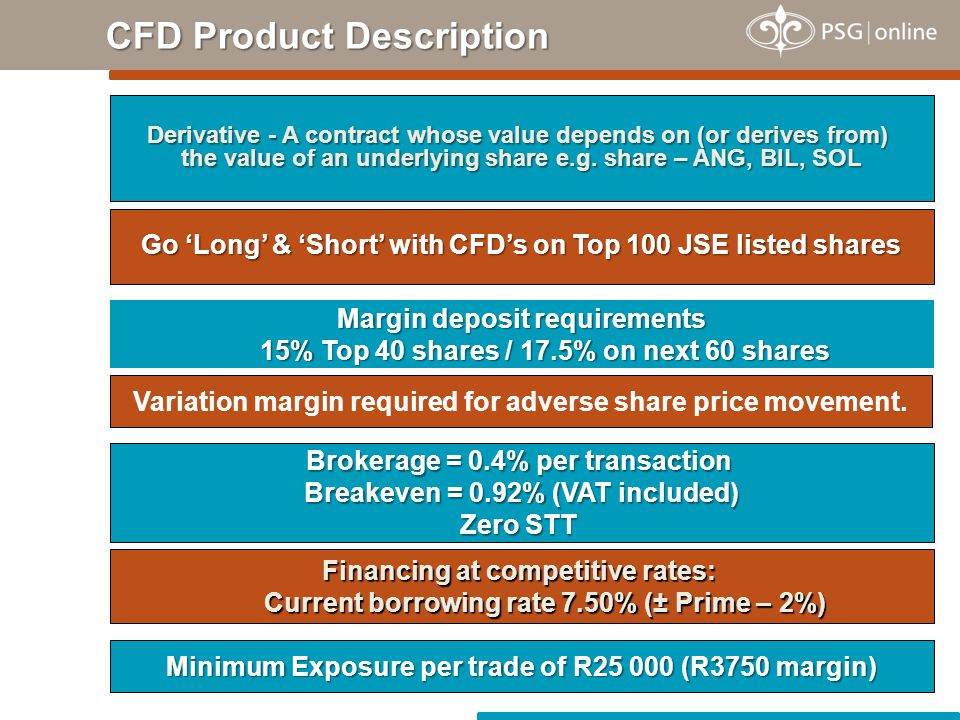 CFD Product Description Go 'Long' & 'Short' with CFD's on Top 100 JSE listed shares Margin deposit requirements 15% Top 40 shares / 17.5% on next 60 s