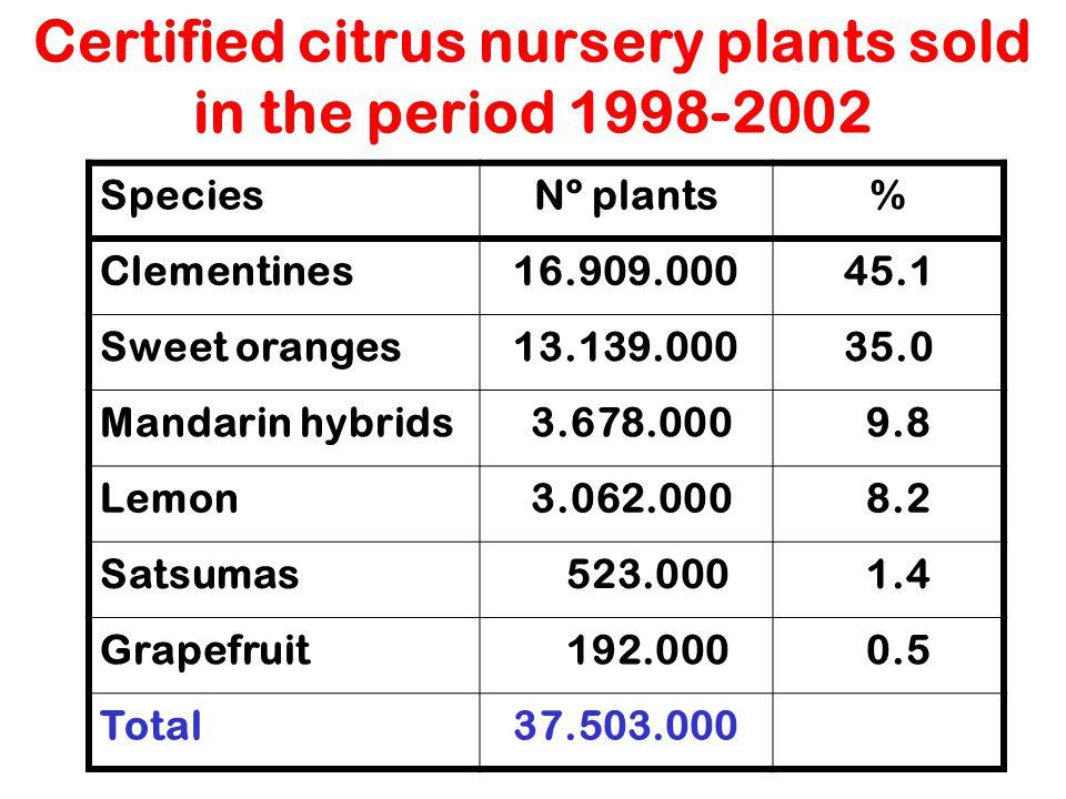 Certified citrus nursery plants sold in the period 1998-2002 SpeciesNº plants% Clementines16.909.00045.1 Sweet oranges13.139.00035.0 Mandarin hybrids