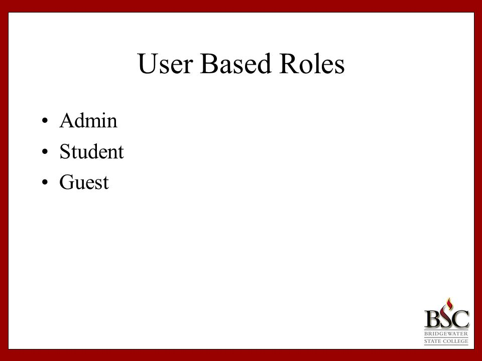 User Based Roles Admin Student Guest