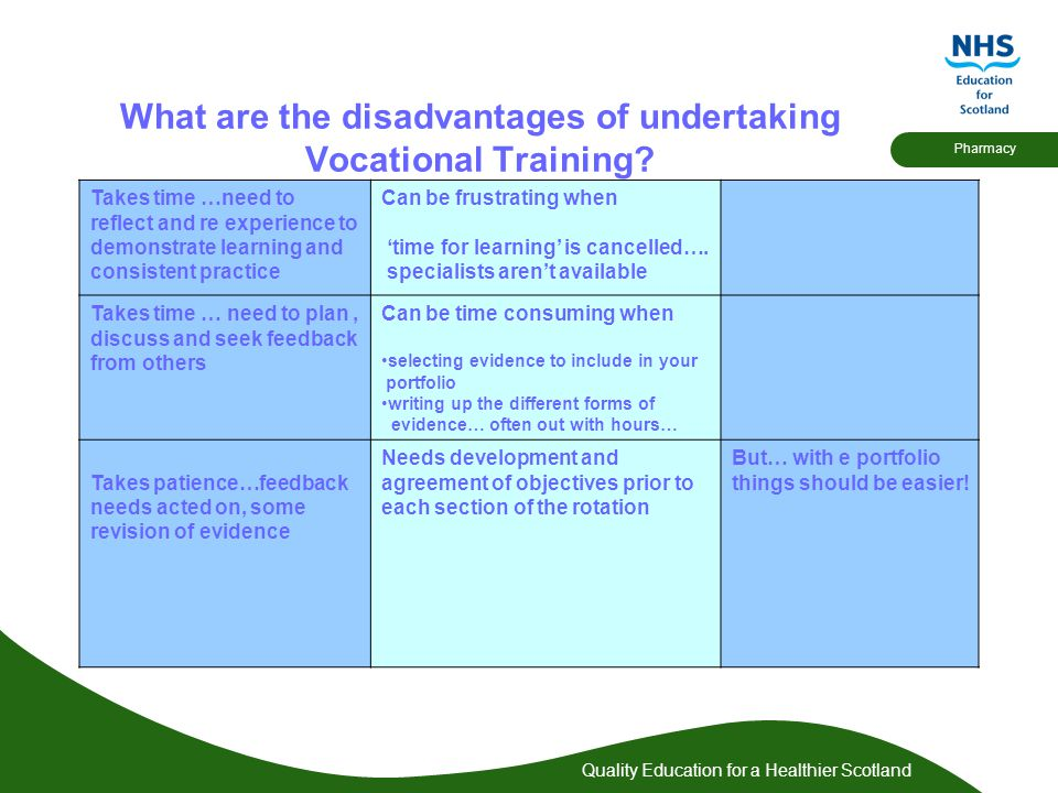 Quality Education for a Healthier Scotland Pharmacy What are the disadvantages of undertaking Vocational Training.