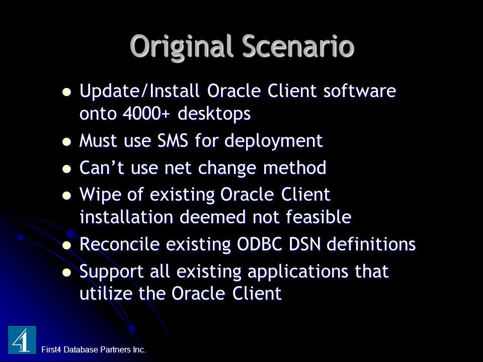Original Scenario Update/Install Oracle Client software onto 4000+ desktops Update/Install Oracle Client software onto 4000+ desktops Must use SMS for