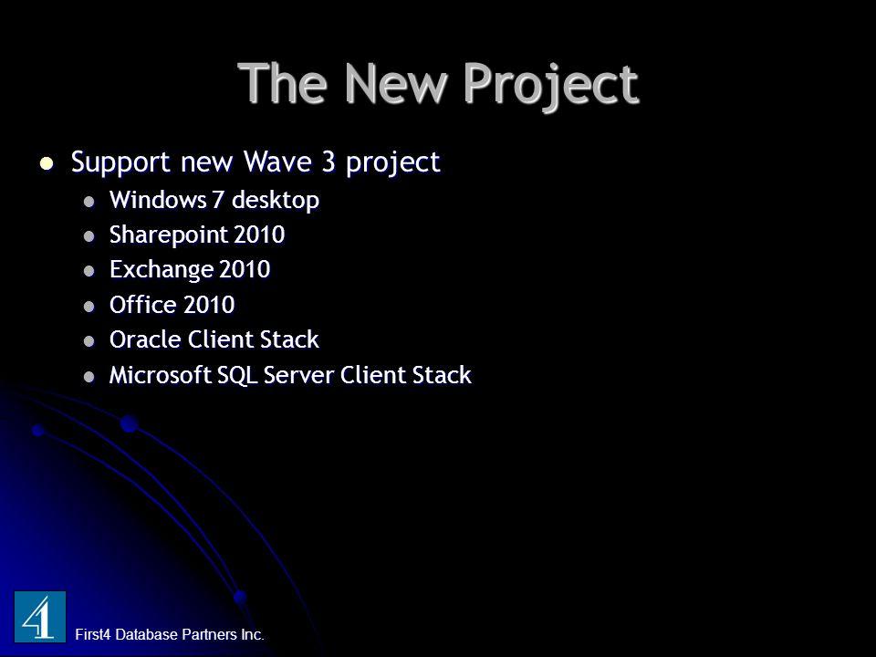 The New Project First4 Database Partners Inc. Support new Wave 3 project Support new Wave 3 project Windows 7 desktop Windows 7 desktop Sharepoint 201