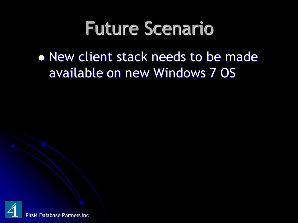 Future Scenario New client stack needs to be made available on new Windows 7 OS New client stack needs to be made available on new Windows 7 OS First4 Database Partners Inc.