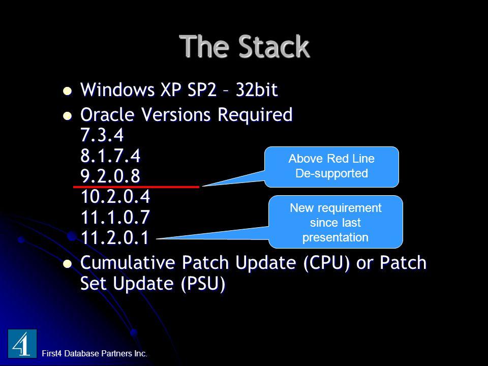 The Stack Windows XP SP2 – 32bit Windows XP SP2 – 32bit Oracle Versions Required 7.3.4 8.1.7.4 9.2.0.8 10.2.0.4 11.1.0.7 11.2.0.1 Oracle Versions Requ