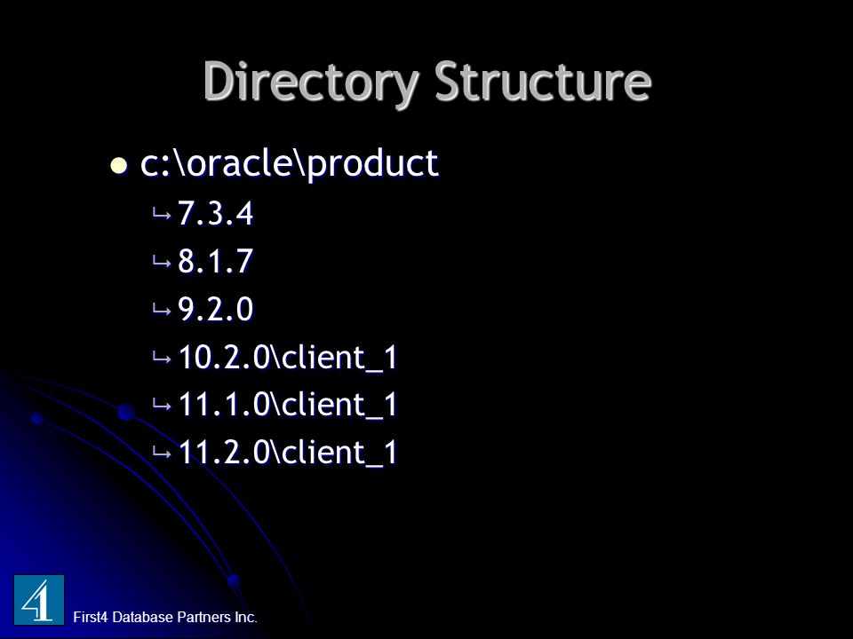 Directory Structure c:\oracle\product c:\oracle\product  7.3.4  8.1.7  9.2.0  10.2.0\client_1  11.1.0\client_1  11.2.0\client_1 First4 Database