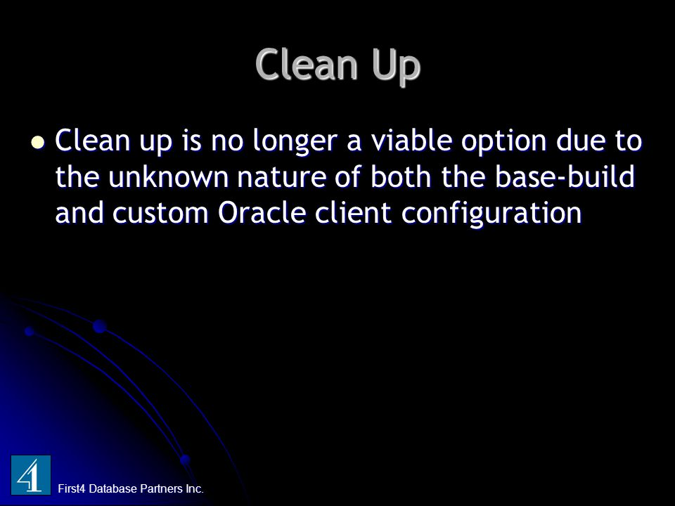 Clean Up First4 Database Partners Inc.