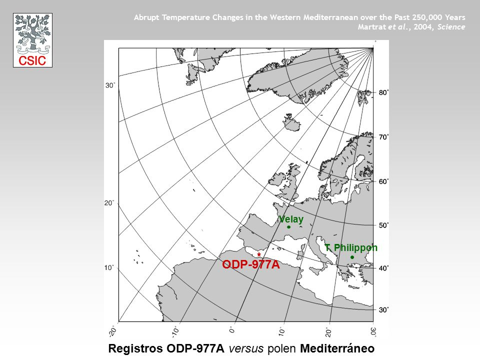 Velay T. Philippon ODP-977A Registros ODP-977A versus polen Mediterráneo Abrupt Temperature Changes in the Western Mediterranean over the Past 250,000