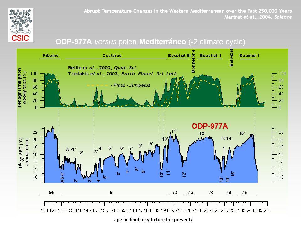 ODP-977A ODP-977A versus polen Mediterráneo (-2 climate cycle) Reille et al., 2000, Quat. Sci. Tzedakis et al., 2003, Earth. Planet. Sci. Lett. Abrupt