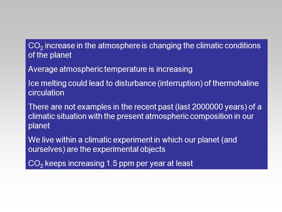 CO 2 increase in the atmosphere is changing the climatic conditions of the planet Average atmospheric temperature is increasing Ice melting could lead
