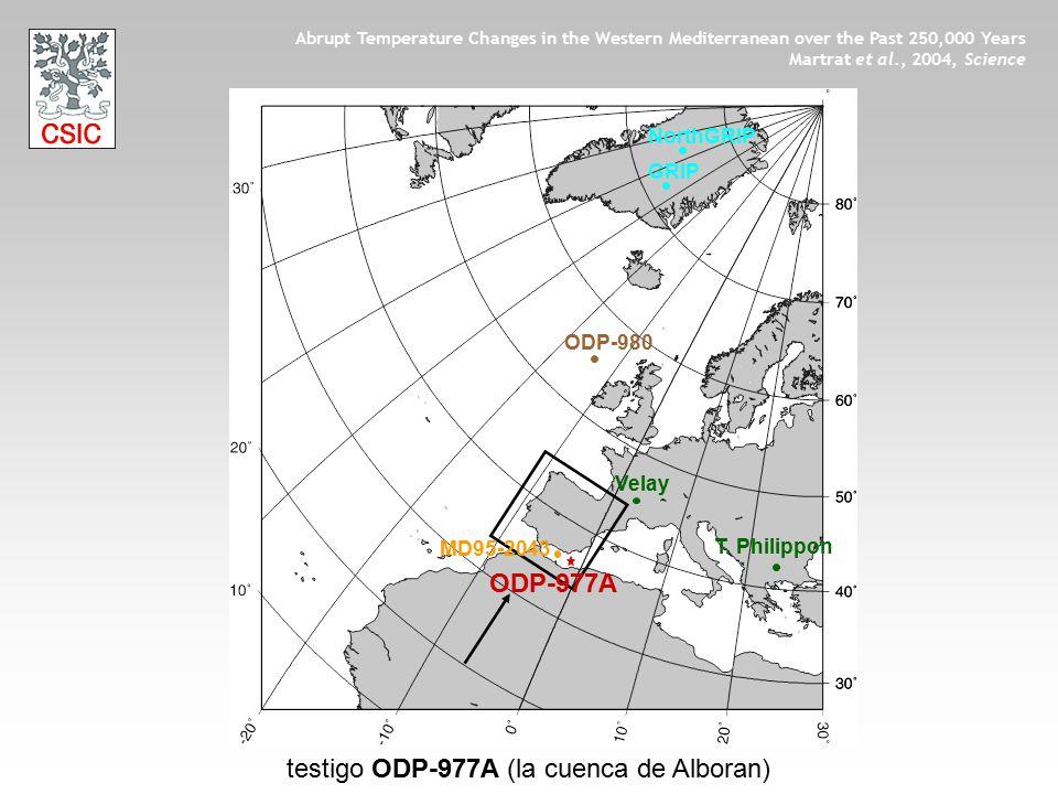 Velay T. Philippon GRIP testigo ODP-977A (la cuenca de Alboran) Abrupt Temperature Changes in the Western Mediterranean over the Past 250,000 Years Ma