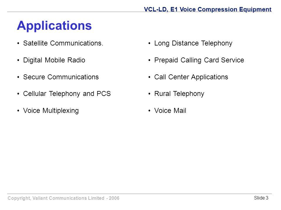 Copyright, Valiant Communications Limited - 2006Slide 3 Satellite Communications. Digital Mobile Radio Secure Communications Cellular Telephony and PC