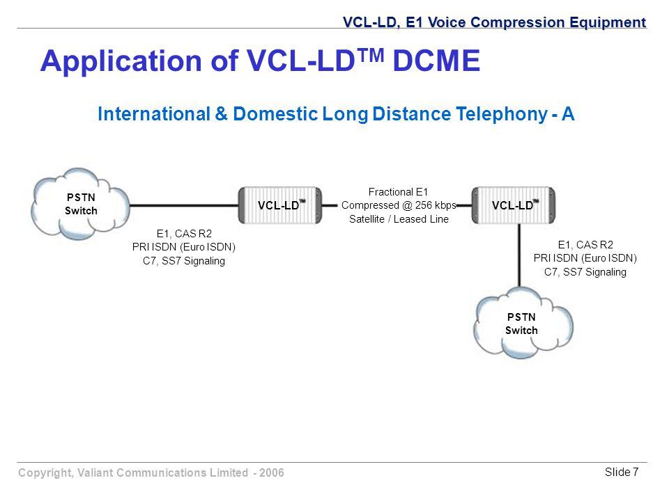 Copyright, Valiant Communications Limited - 2006Slide 7 International & Domestic Long Distance Telephony - A Fractional E1 Compressed @ 256 kbps Satel