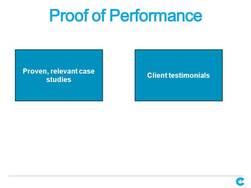 11 Proven, relevant case studies Client testimonials