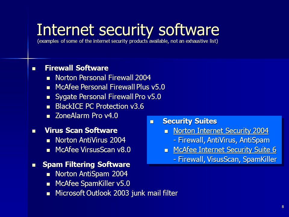 8 Firewall Software Firewall Software Norton Personal Firewall 2004 Norton Personal Firewall 2004 McAfee Personal Firewall Plus v5.0 McAfee Personal F