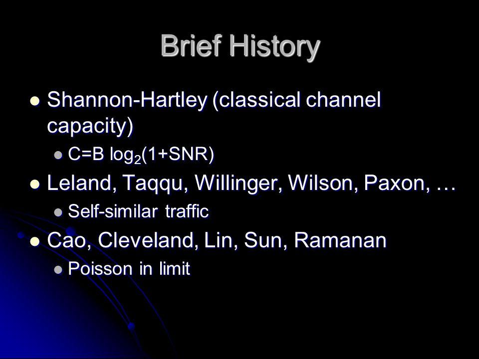 Brief History Shannon-Hartley (classical channel capacity) Shannon-Hartley (classical channel capacity) C=B log 2 (1+SNR) C=B log 2 (1+SNR) Leland, Taqqu, Willinger, Wilson, Paxon, … Leland, Taqqu, Willinger, Wilson, Paxon, … Self-similar traffic Self-similar traffic Cao, Cleveland, Lin, Sun, Ramanan Cao, Cleveland, Lin, Sun, Ramanan Poisson in limit Poisson in limit