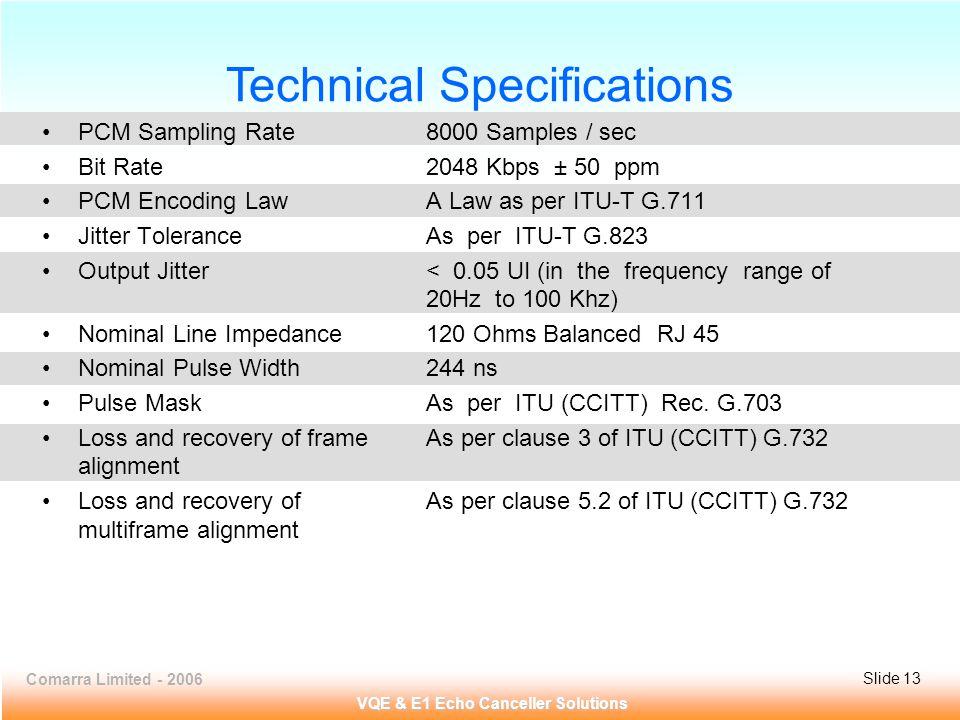 Comarra Limited - 2006Slide 13 VQE & E1 Echo Canceller Solutions PCM Sampling Rate8000 Samples / sec Bit Rate2048 Kbps ± 50 ppm PCM Encoding LawA Law as per ITU-T G.711 Jitter ToleranceAs per ITU-T G.823 Output Jitter< 0.05 UI (in the frequency range of 20Hz to 100 Khz) Nominal Line Impedance120 Ohms Balanced RJ 45 Nominal Pulse Width244 ns Pulse MaskAs per ITU (CCITT) Rec.