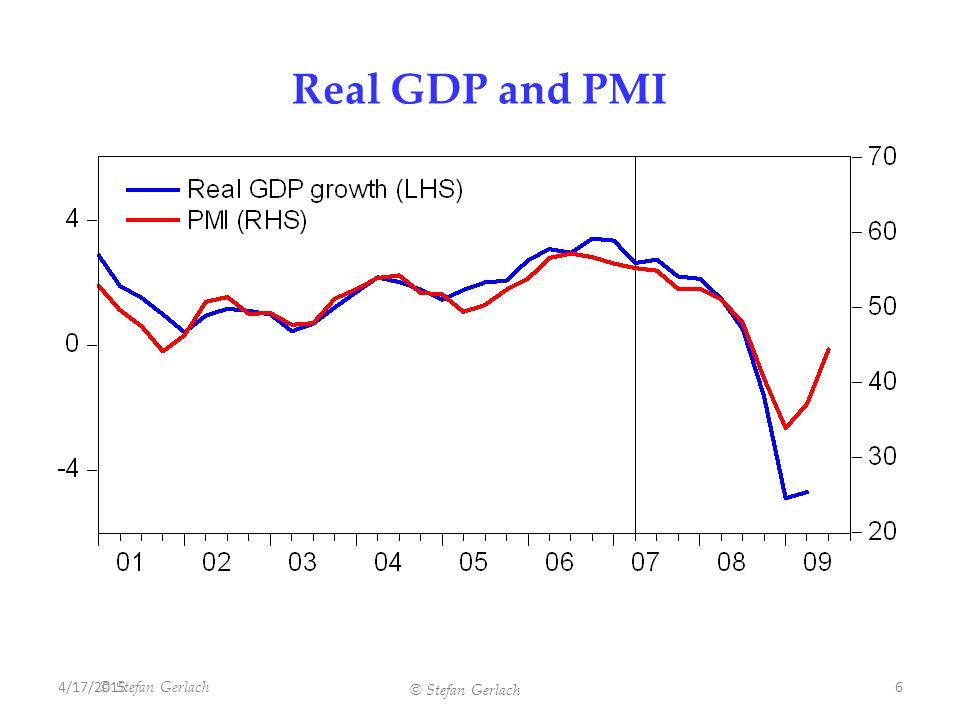 © Stefan Gerlach Real GDP and PMI 4/17/20156 © Stefan Gerlach