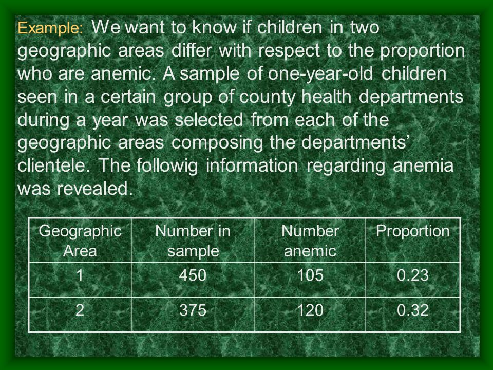 Example: We want to know if children in two geographic areas differ with respect to the proportion who are anemic.