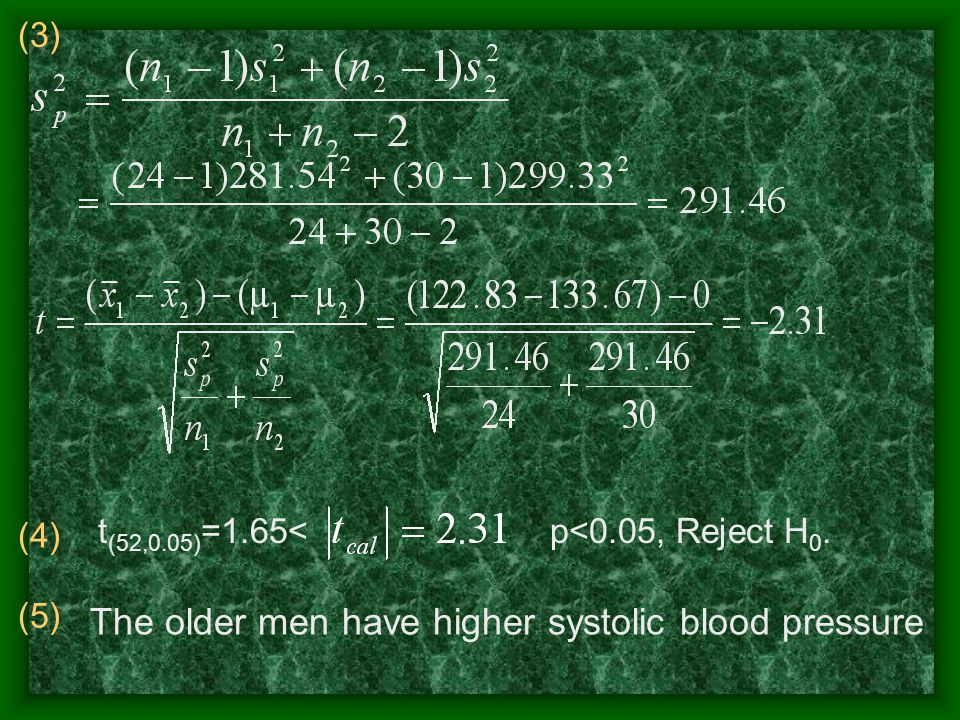 (3) (4) t (52,0.05) =1.65< p<0.05, Reject H 0.