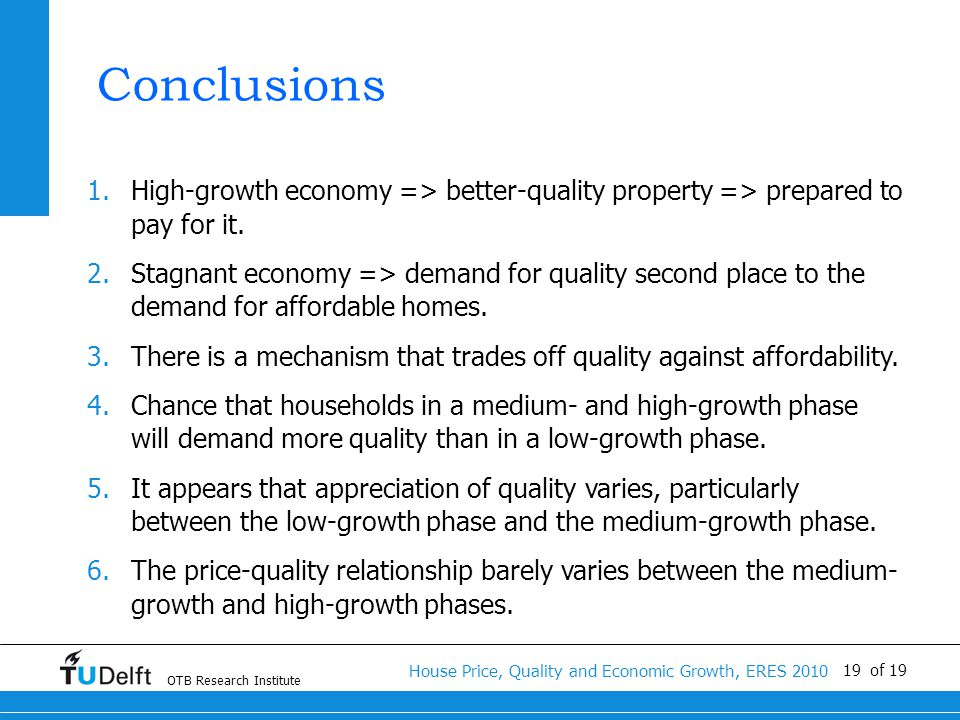 OTB Research Institute House Price, Quality and Economic Growth, ERES 2010 19 of 19 Conclusions 1.High-growth economy => better-quality property => prepared to pay for it.