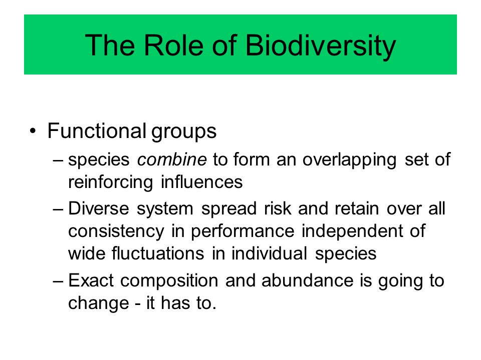 The Role of Biodiversity Functional groups –species combine to form an overlapping set of reinforcing influences –Diverse system spread risk and retain over all consistency in performance independent of wide fluctuations in individual species –Exact composition and abundance is going to change - it has to.