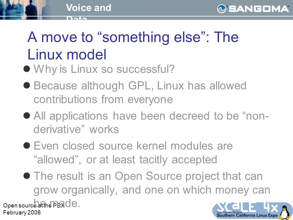 Voice and Data Open source at the PBX February 2006 A move to something else : The Linux model Why is Linux so successful.