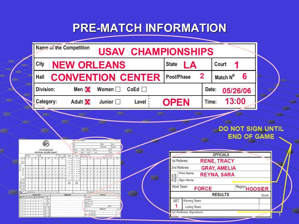 1 PRE-MATCH INFORMATION USAV CHAMPIONSHIPS NEW ORLEANSLA1 CONVENTION CENTER 2 6 x x OPEN 05/26/06 13 00 RENE, TRACY REYNA, SARA GRAY, AMELIA HOOSIER F