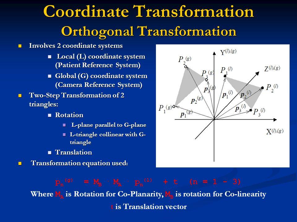 Coordinate Transformation Orthogonal Transformation Coordinate Transformation Orthogonal Transformation Involves 2 coordinate systems Involves 2 coordinate systems Local (L) coordinate system (Patient Reference System) Local (L) coordinate system (Patient Reference System) Global (G) coordinate system (Camera Reference System) Global (G) coordinate system (Camera Reference System) Two-Step Transformation of 2 triangles: Two-Step Transformation of 2 triangles: Rotation Rotation L-plane parallel to G-plane L-plane parallel to G-plane L-triangle collinear with G- triangle L-triangle collinear with G- triangle Translation Translation Transformation equation used : Transformation equation used : p n (g) = M B.