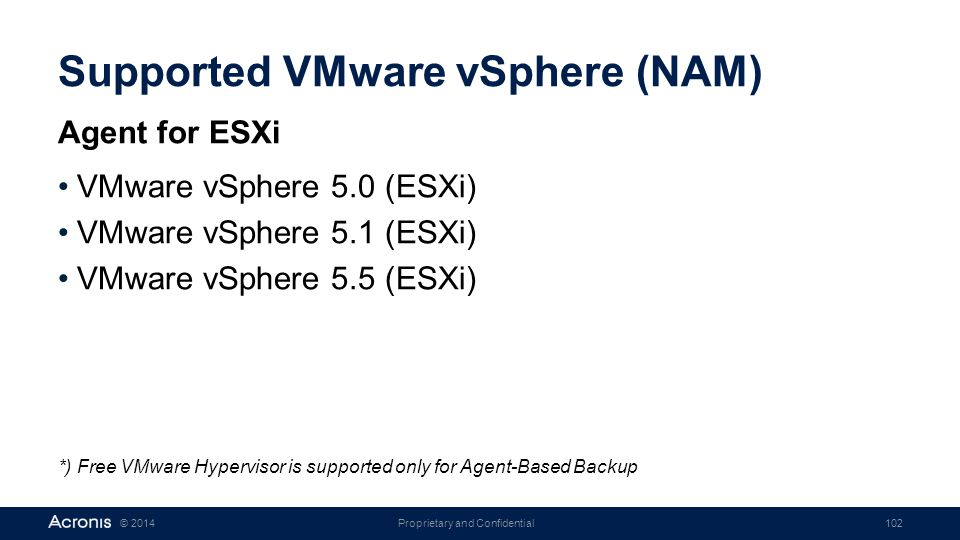 Proprietary and Confidential102© 2014 Supported VMware vSphere (NAM) Agent for ESXi VMware vSphere 5.0 (ESXi) VMware vSphere 5.1 (ESXi) VMware vSphere 5.5 (ESXi) *) Free VMware Hypervisor is supported only for Agent-Based Backup